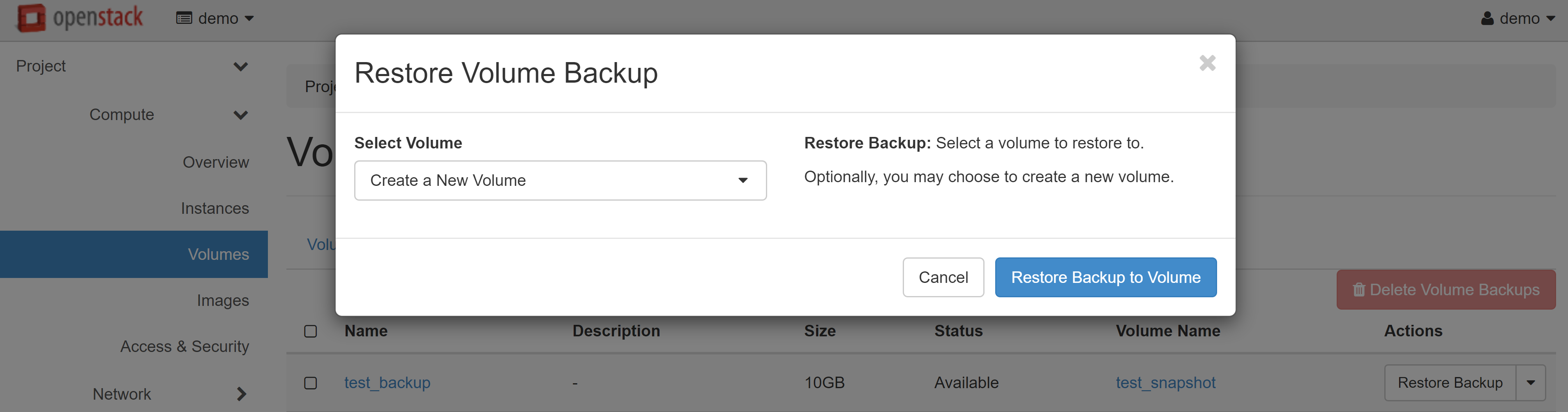 RESTORE BACKPUP TO VOLUME