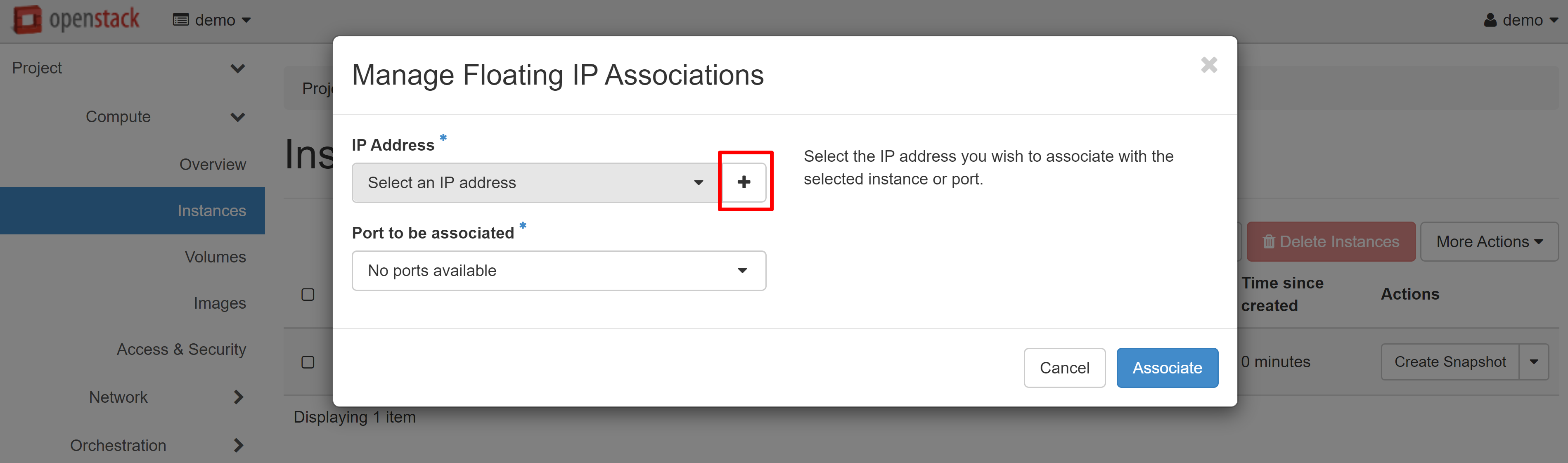 ASSOCIATE FLOATING IP
